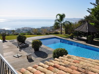 Pool, Holiday seaview villa in Benalmádena for 12 people