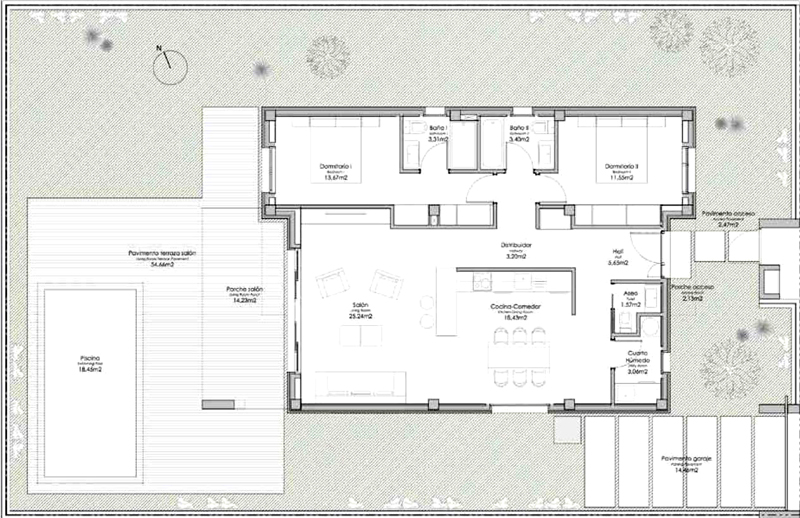 Layout plan, 2 bedrooms, Modern villas for sale in Torre del Mar