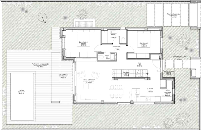 Layout plan, 3 bedrooms, Modern villas for sale in Torre del Mar