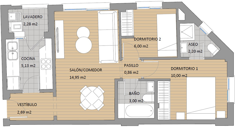Floor Plan 2 Bedrooms Apartment