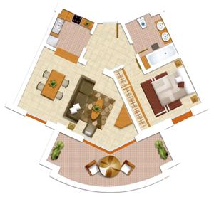 Площадь квартиры от застройщика с одной спальней