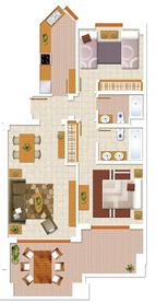 Площадь квартиры от застройщика с двумя спальнями