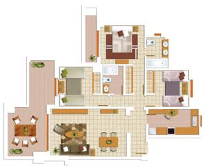 Площадь квартиры от застройщика с тремя спальнями