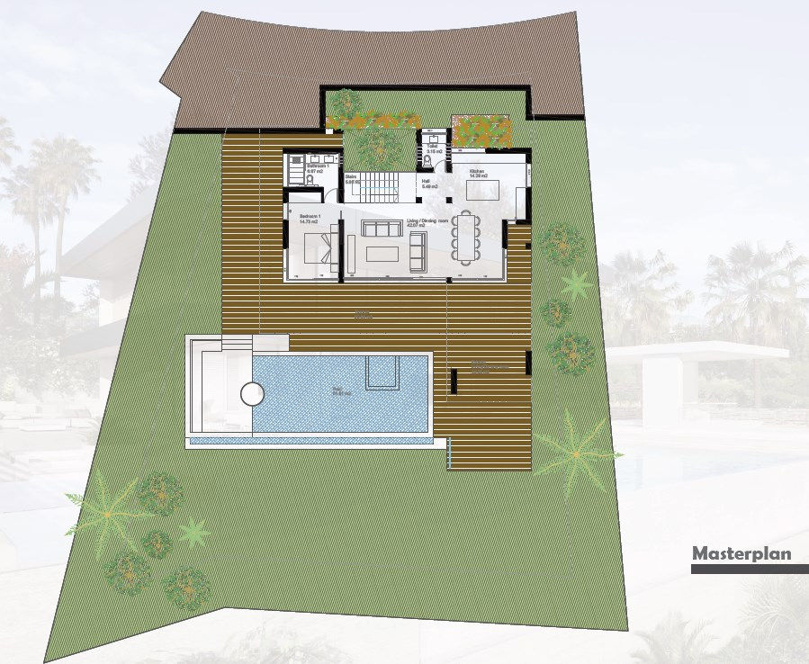 Masterplan first floor,  New villa Los Almendros Gated  in Benahavís