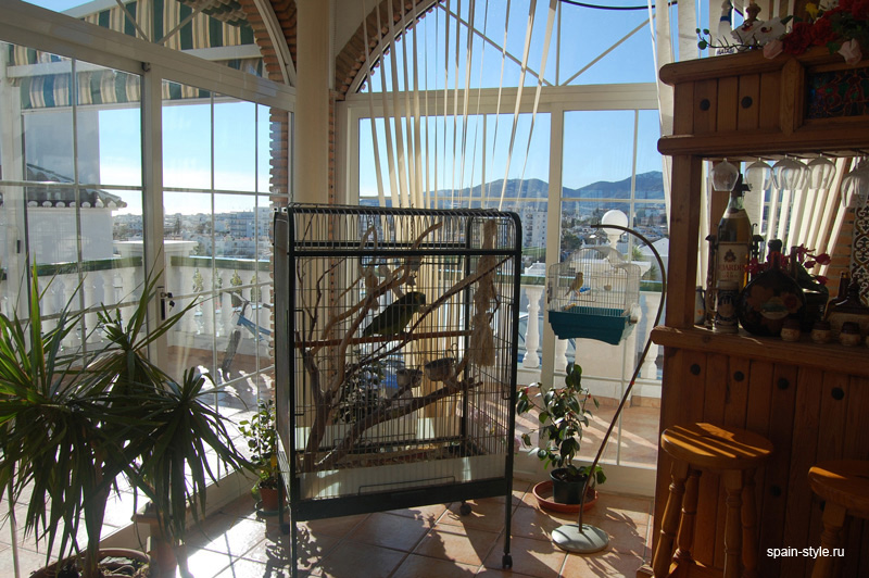 Terrace  with fireplace, Seaview villa for sale in Nerja