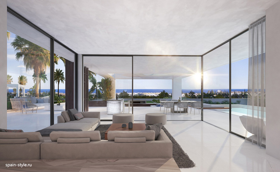 Living room, Luxury sea view villas  in the New Golden Mile