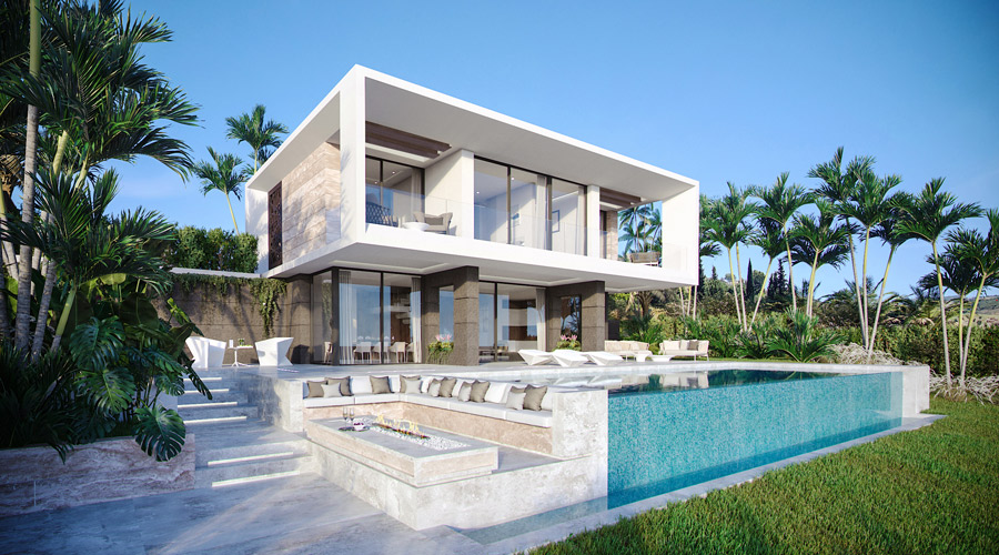 New  villas with sea and golf views  in Estepona